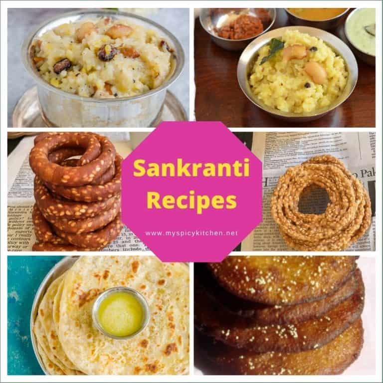 Collage of sankranti recipe images.