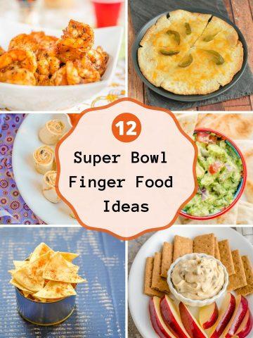 Collage of Super Bowl finger foods.