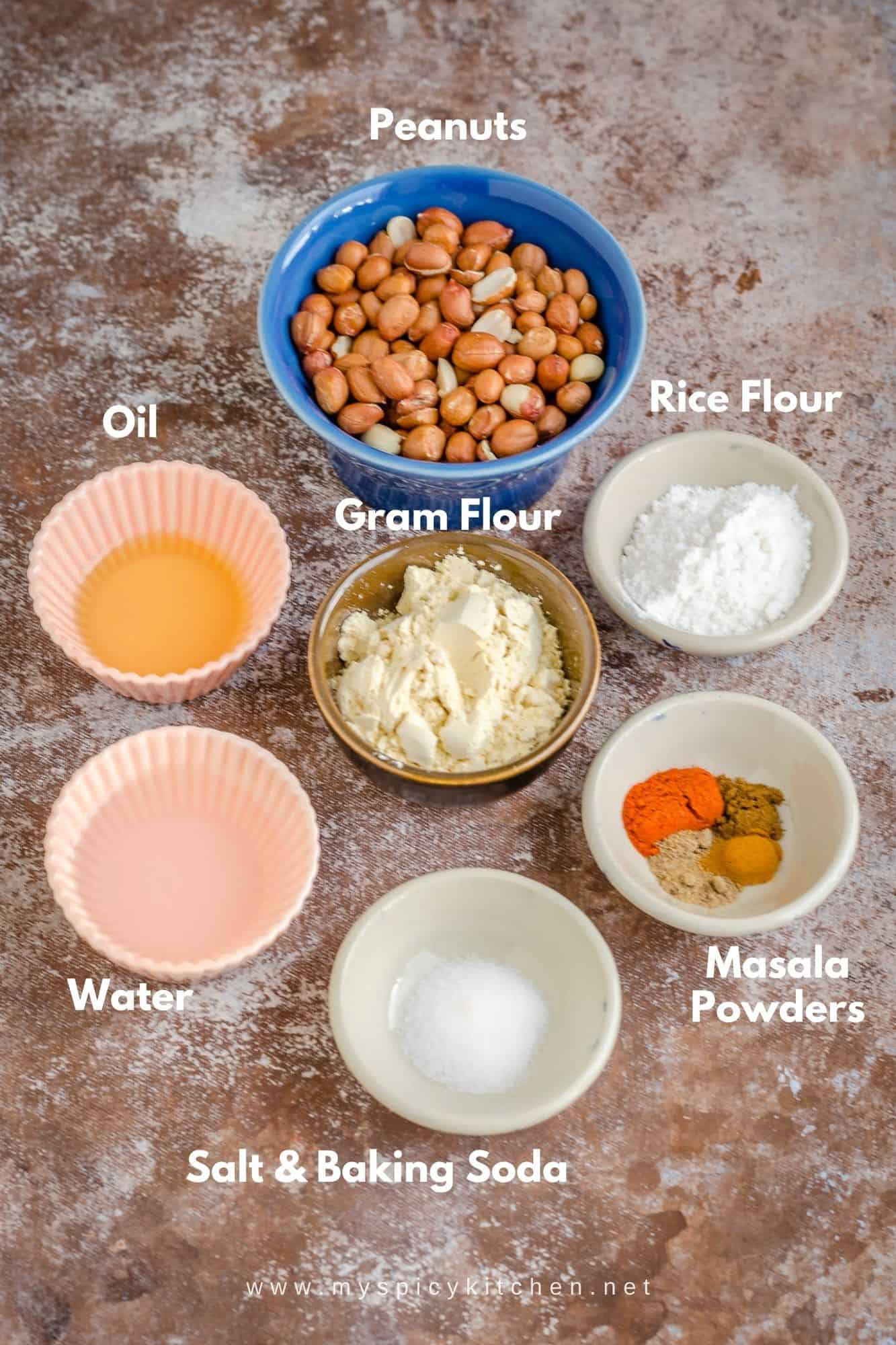 Ingredients for Baked masala peanuts.