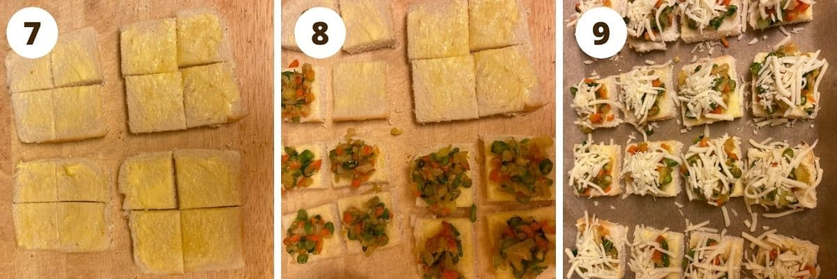SbS collage of 4 bread slices cut into 4 pieces each, each bread piece topped with vegetable mixture and bread canapes on a baking tray topped with cheese.