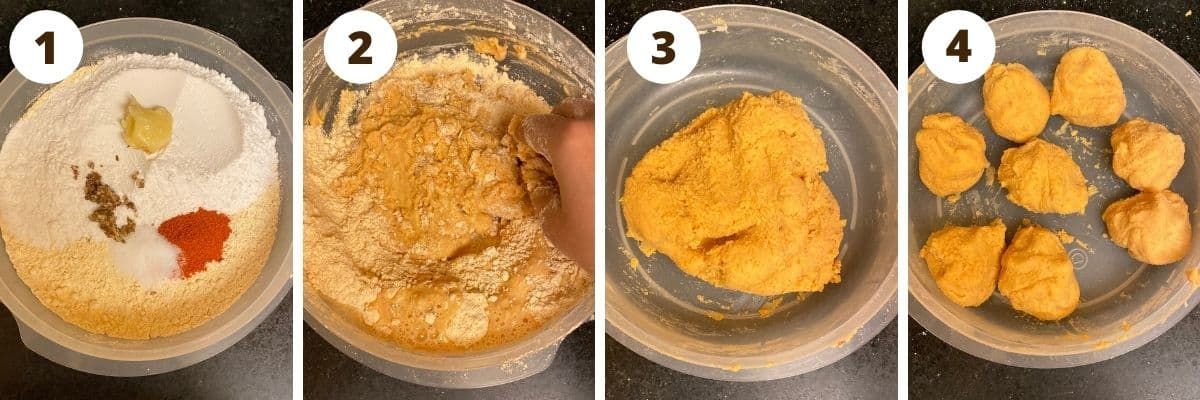 Step by step college of dough preparation - step 1 mixing all the ingredients in a bowl, step 2 making the dough with water, step 3 soft dough in a bowl, step 4 portions of dough in a bowl.