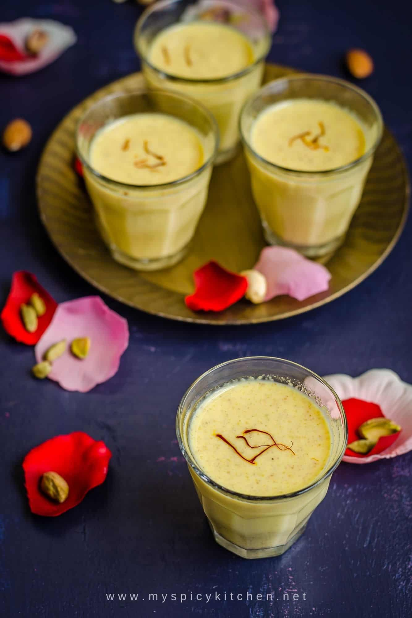 Glasses of sweet and spicy Holi drink.