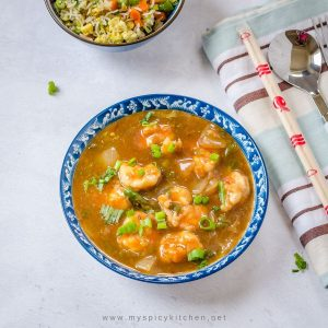 a bowl of Indo Chinese Chili shrimp gravy.