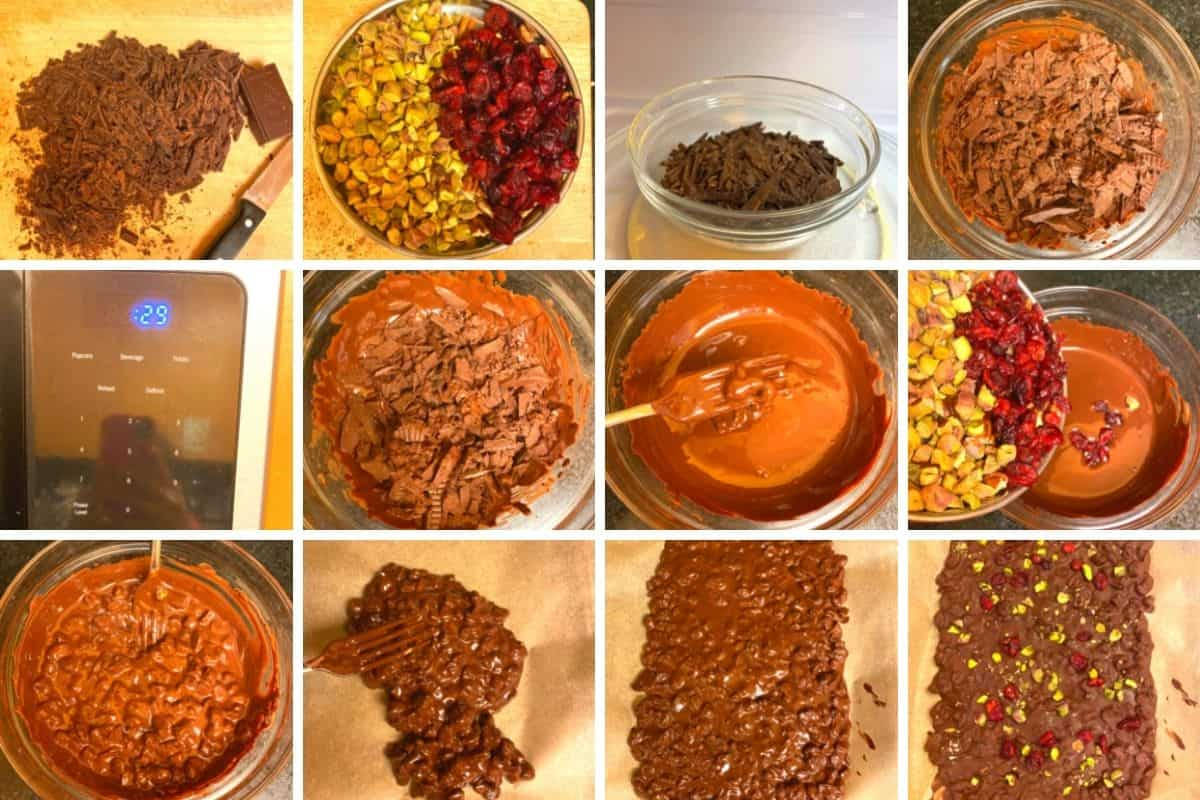 Collage of step by step preparation of chocolate bark.