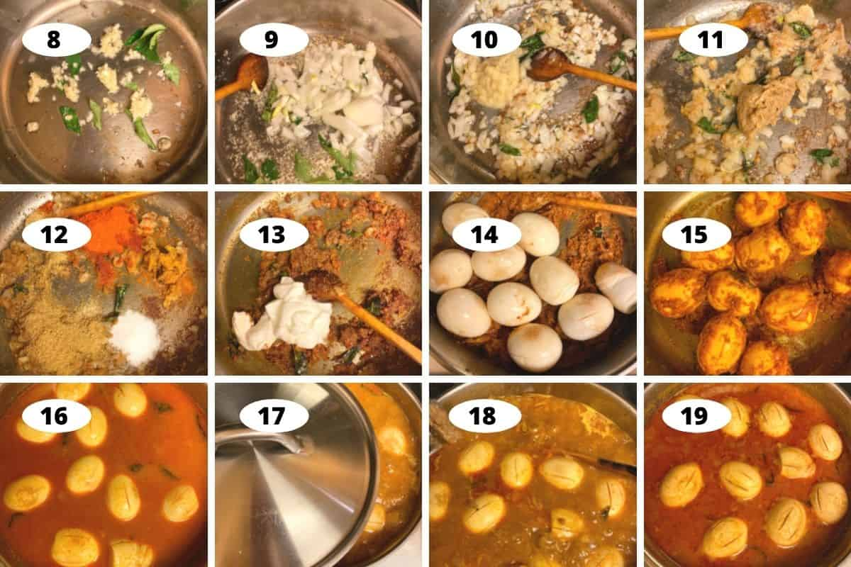 Collage of step by step preparation of Telangana style egg pulusu recipe.