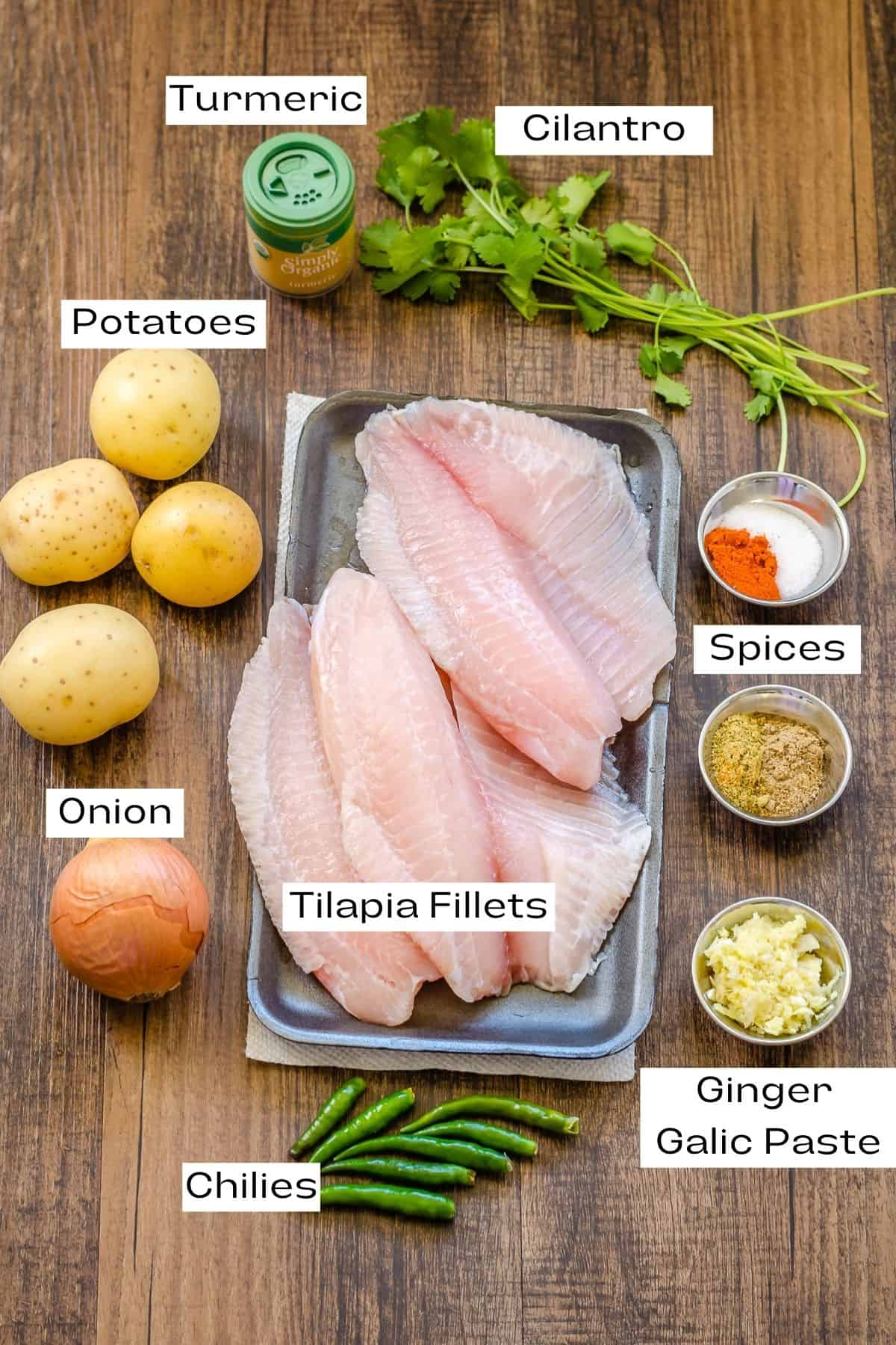 Ingredients for tilapia cutlets.