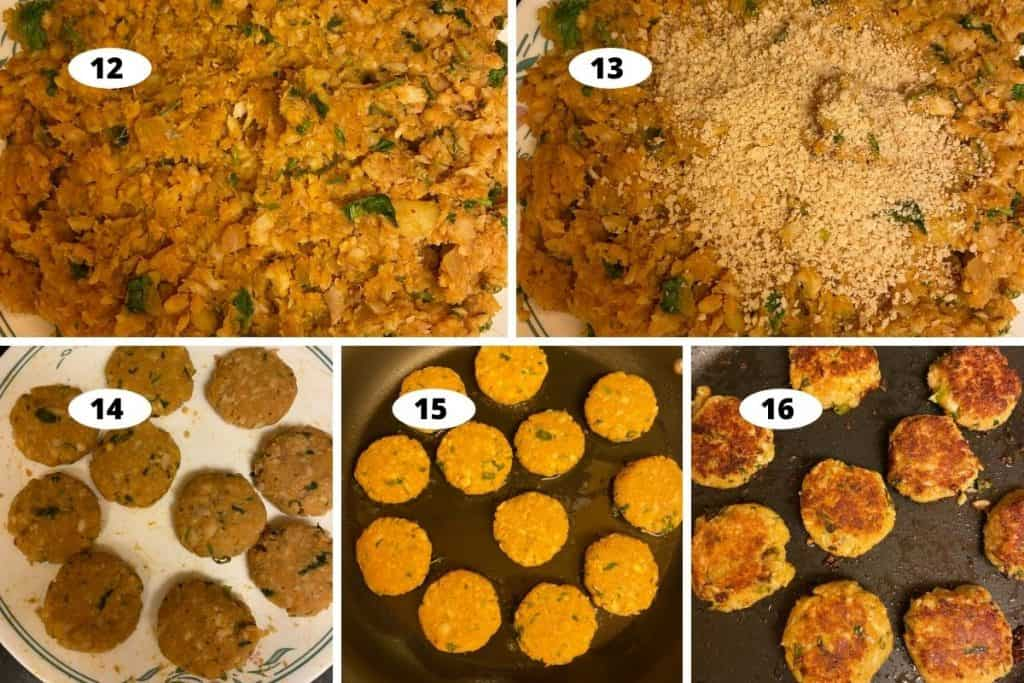 Collage sbs Prep - cooling the fish mixture, shaped cutlets and pan frying cutlets.