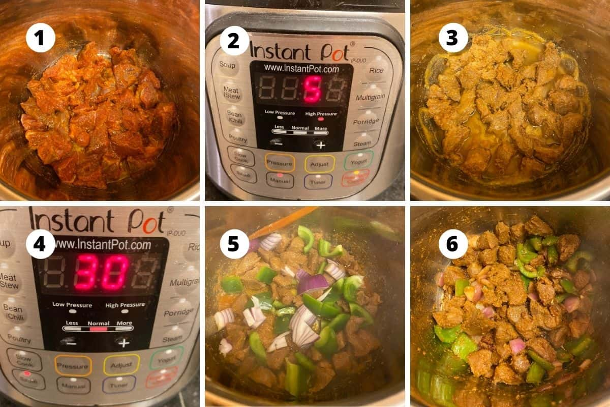 Step by step preparation of the recipe.