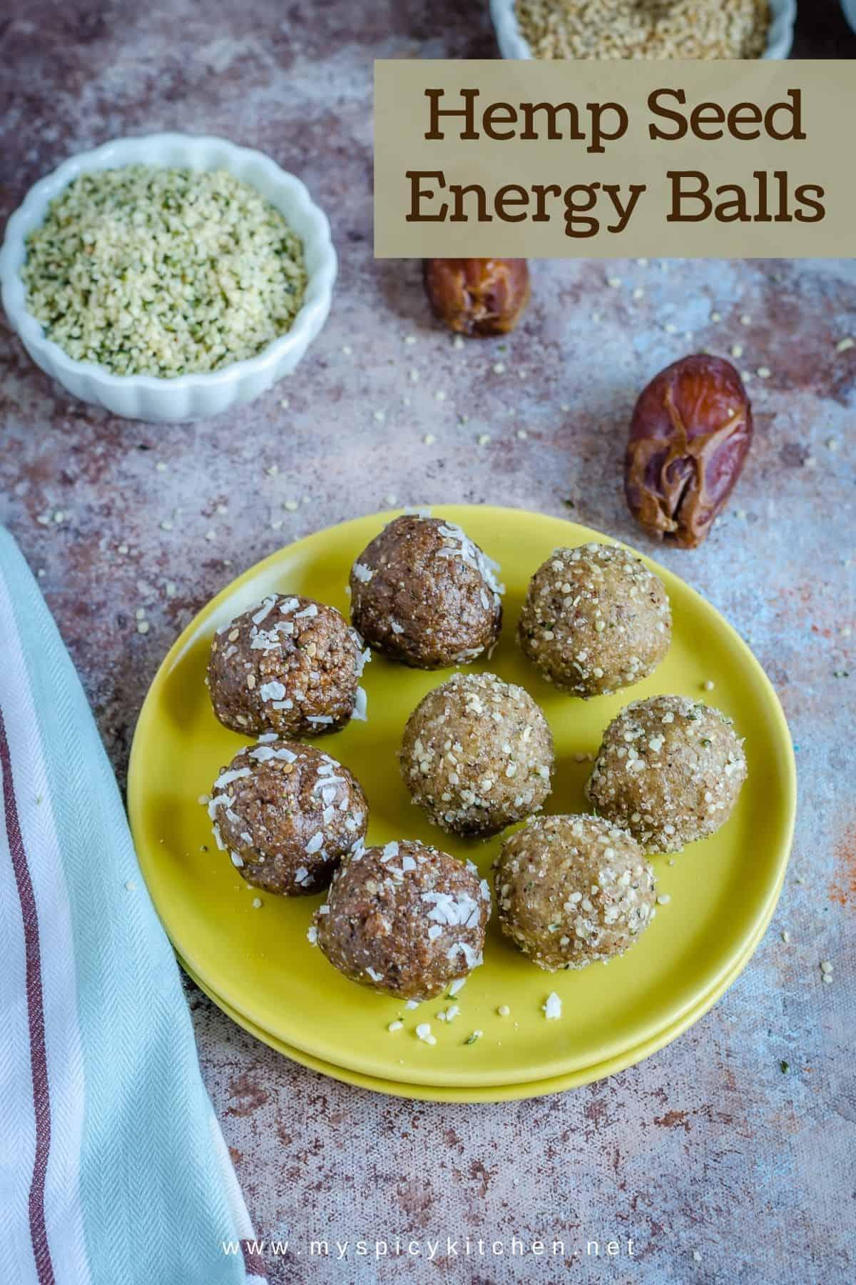 Plate of hemp seeds energy balls.