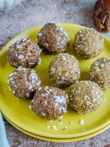 Hemp seed balls in a plate.