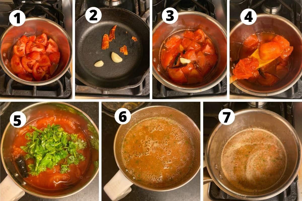 Step by step preparation of salsa roja preparation.