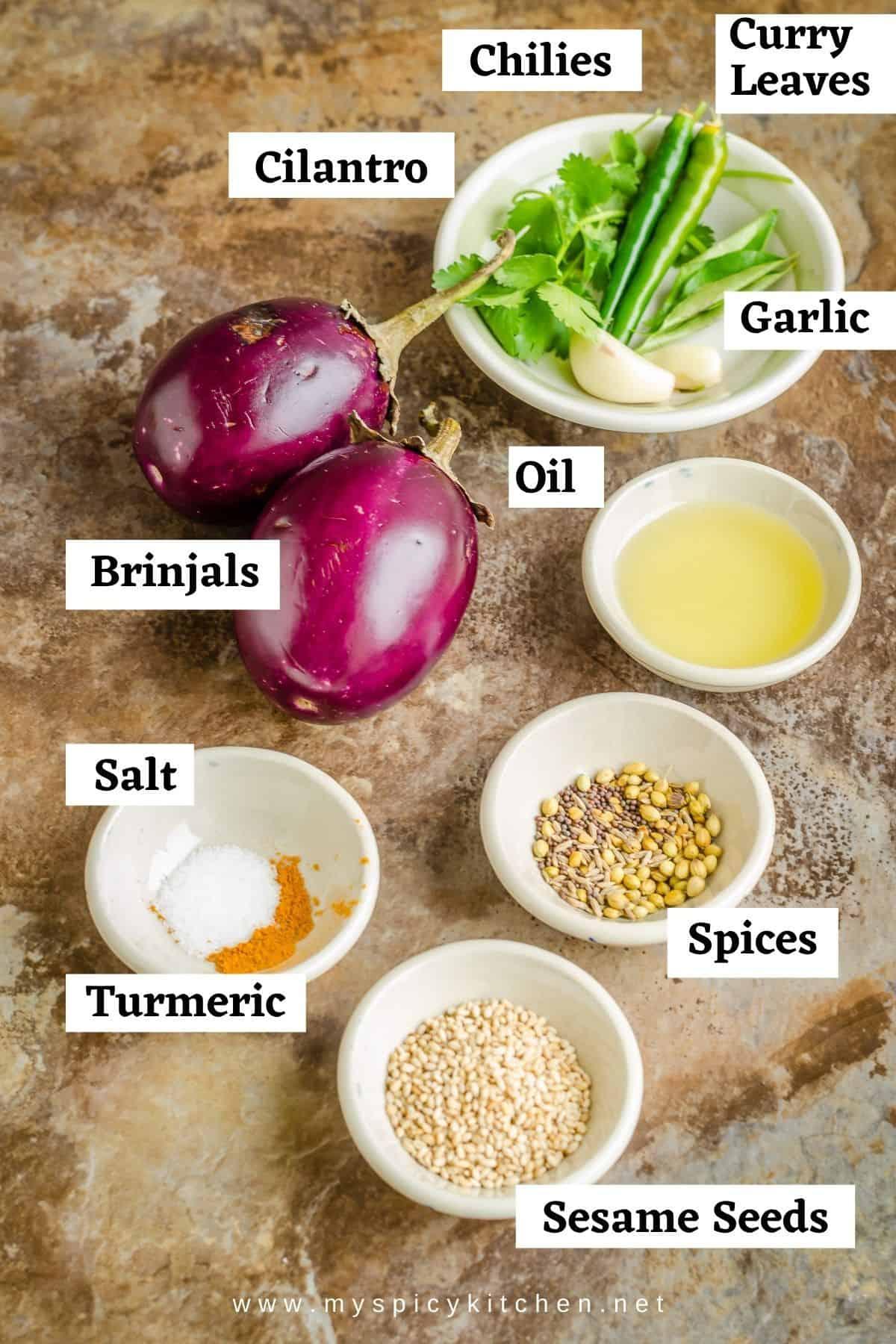 Ingredients for brinjal chutney.