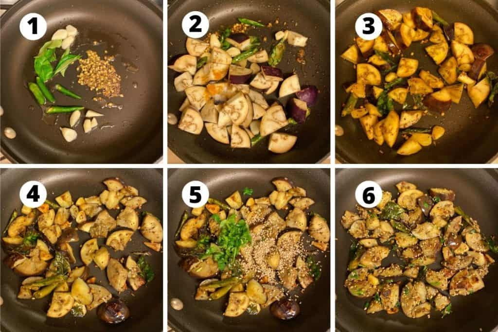 Collage of step by step preparation of brinjal chutney.