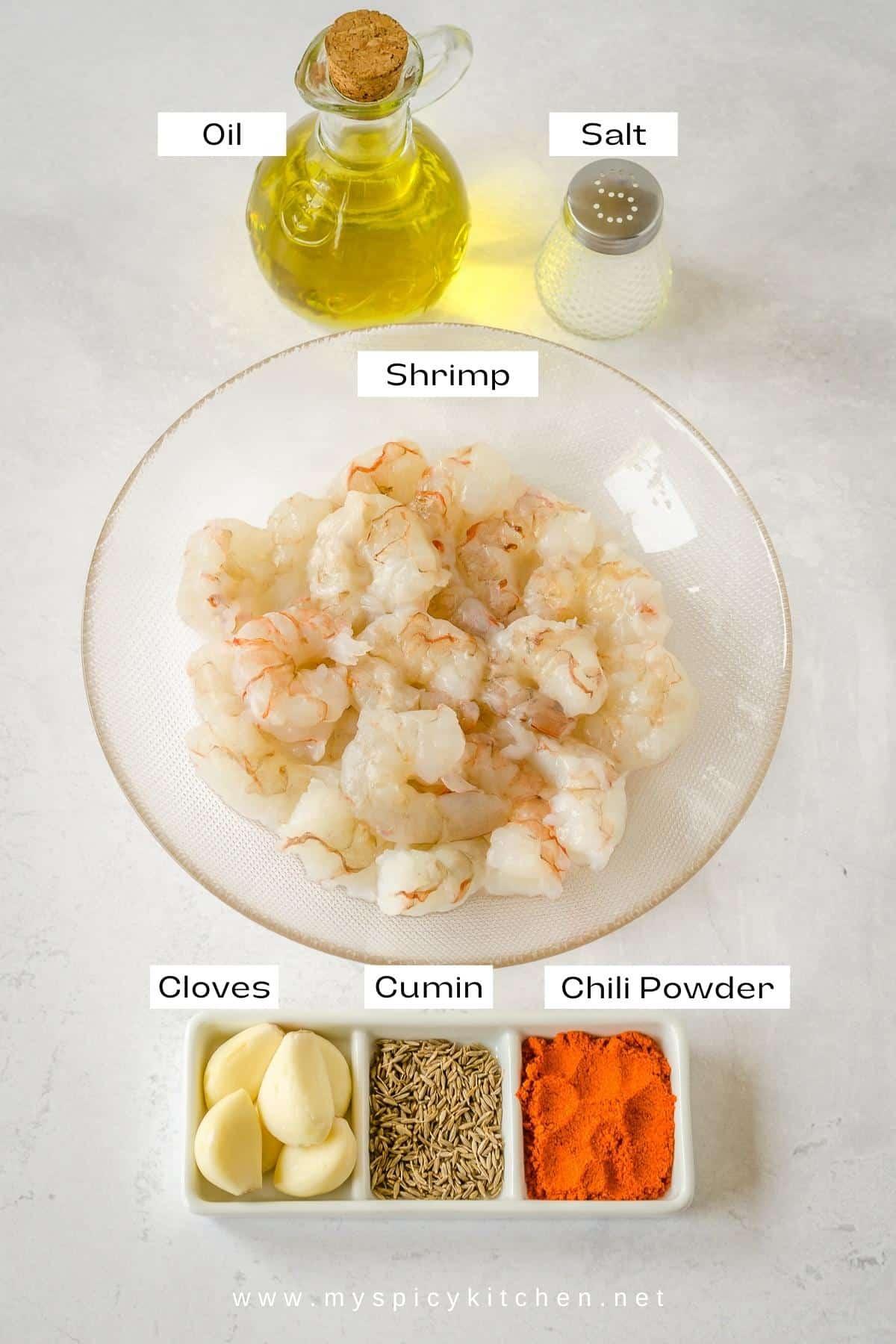 Ingredients for shrimp chili garlic stir fry.
