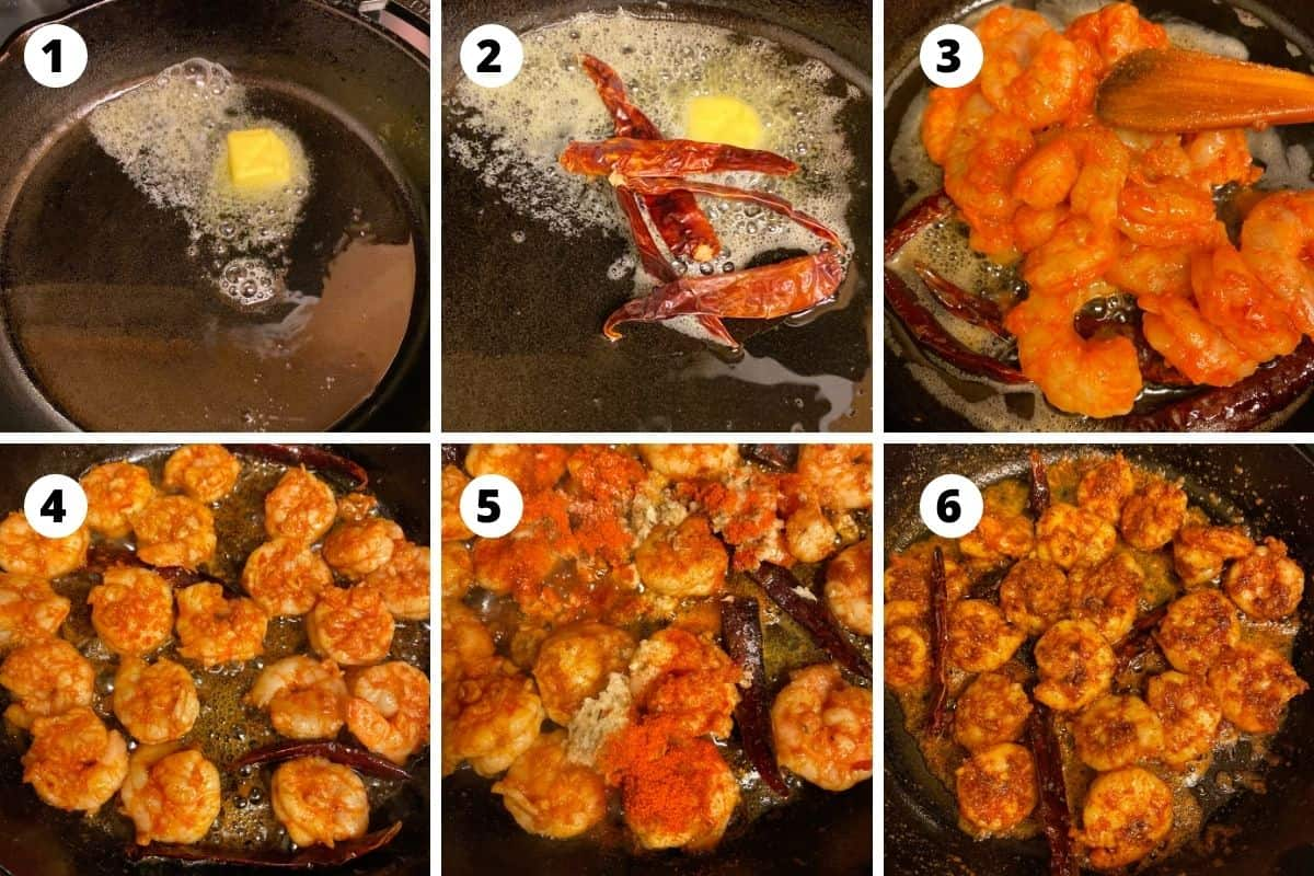 Step by step picture collage of chili garlic shrimp preparation.