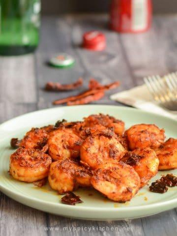 Chili garlic shrimp in a plate.