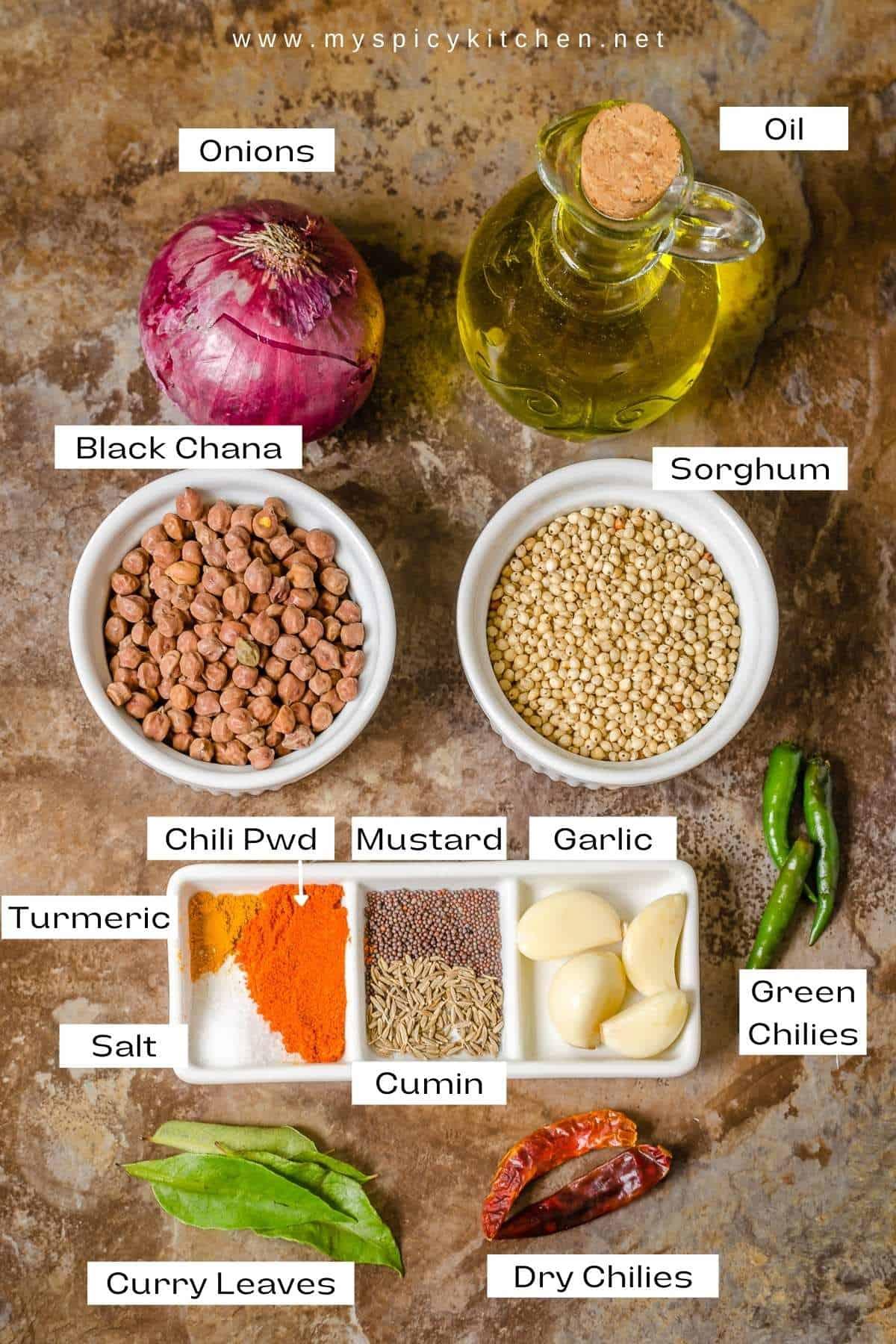 Ingredients for jonnalu shenagalu gudalu.