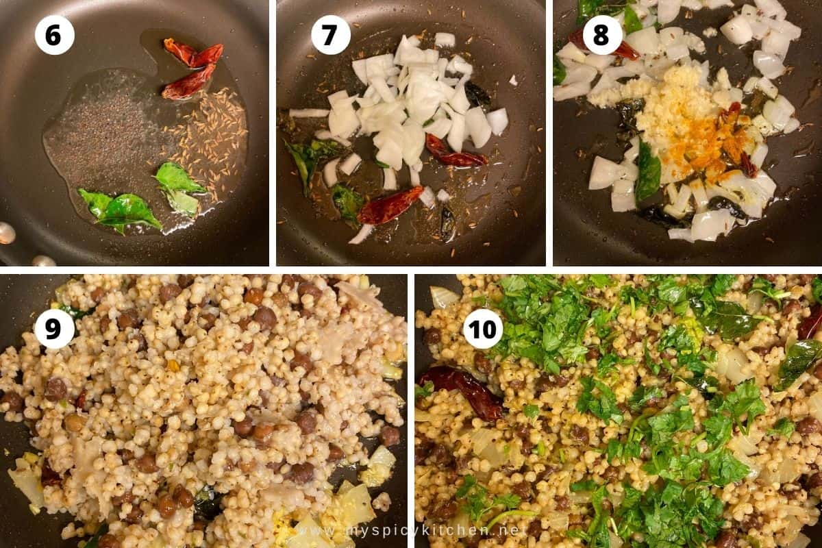 Collage of step by step photos of sauteeing gudalu.