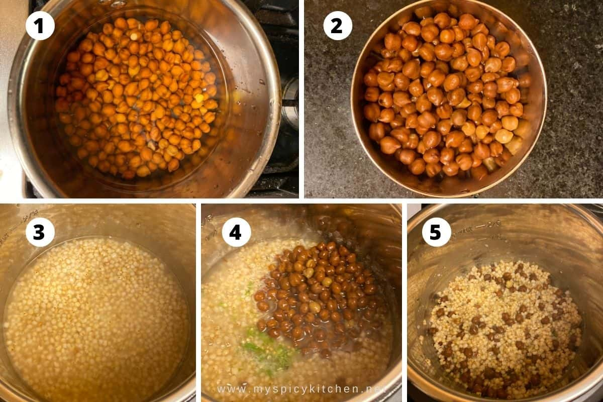 Collage of cooking of black chana and sorghum.