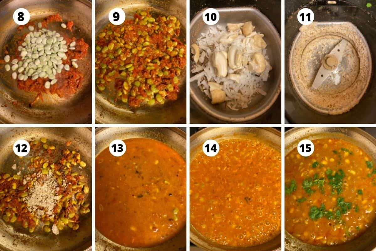 Collage of step by step pictures of cooking the curry.