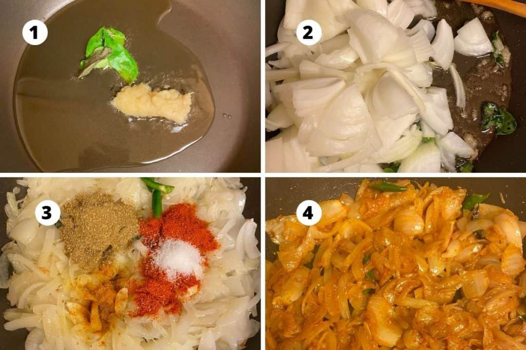 Step by step picture collage of onion base preparation for the curry.