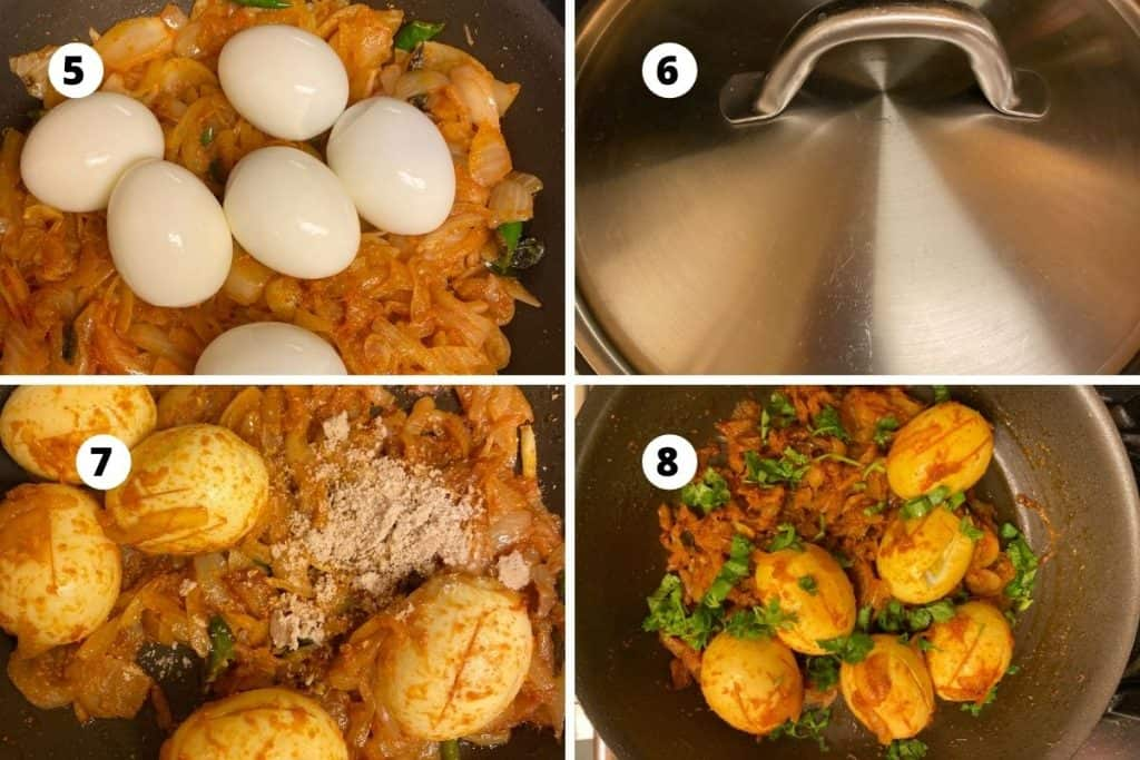 Step by step picture collage of egg curry preparation.