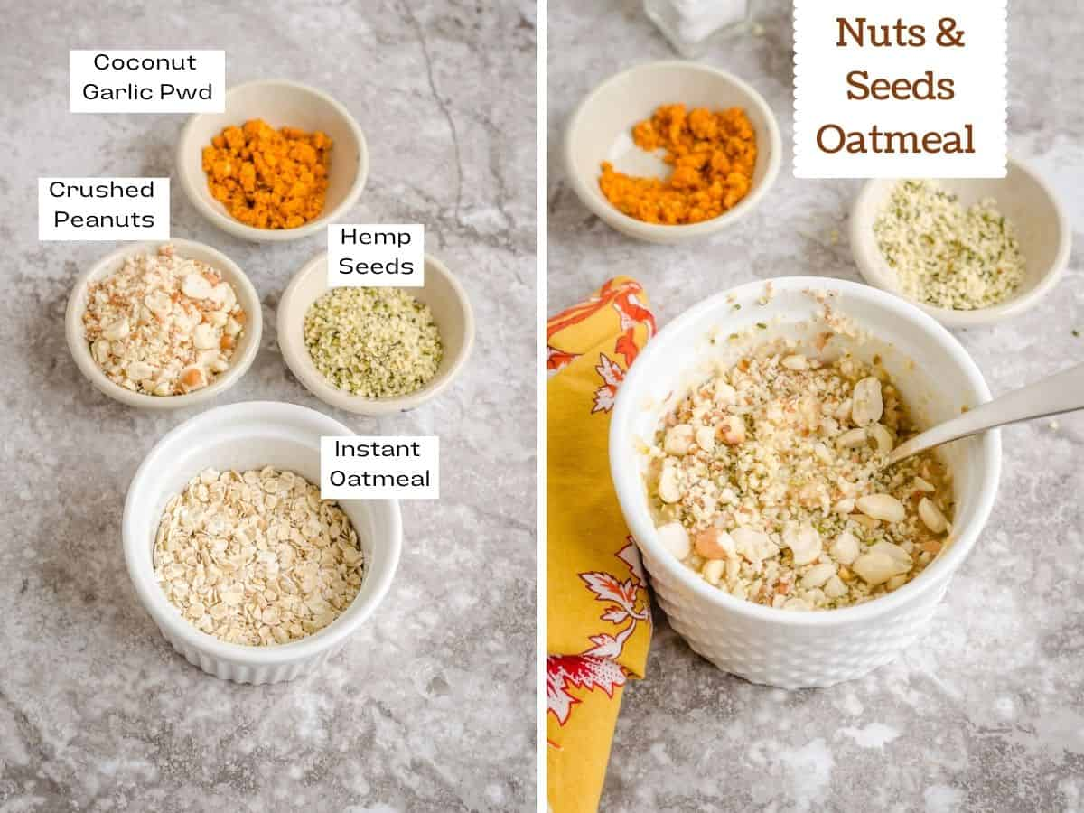 Collage of ingredient and finished shot of savory nuts & seeds oatmeal.