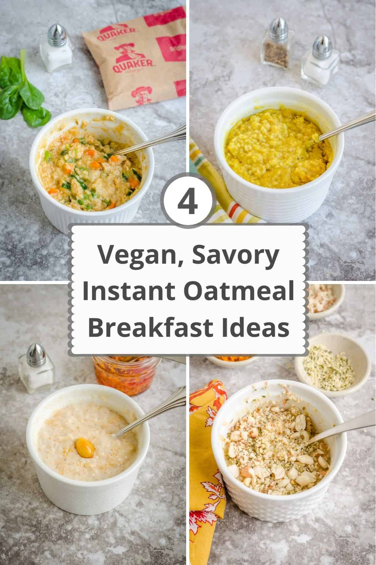 Collage of 4 flavors of vegan instant oatmeal.