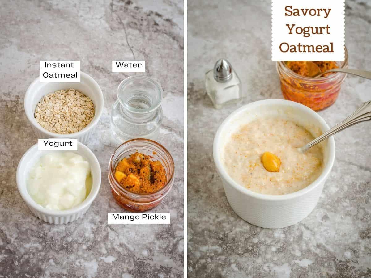 Collage of ingredient and final shot of savory vegan yogurt oatmeal.