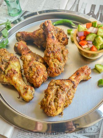 Grilled chicken in a platter.