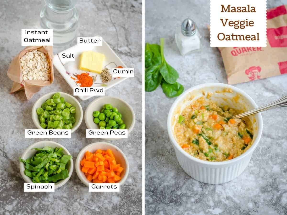 Collage of ingredient and final shot of masala veggie oats.