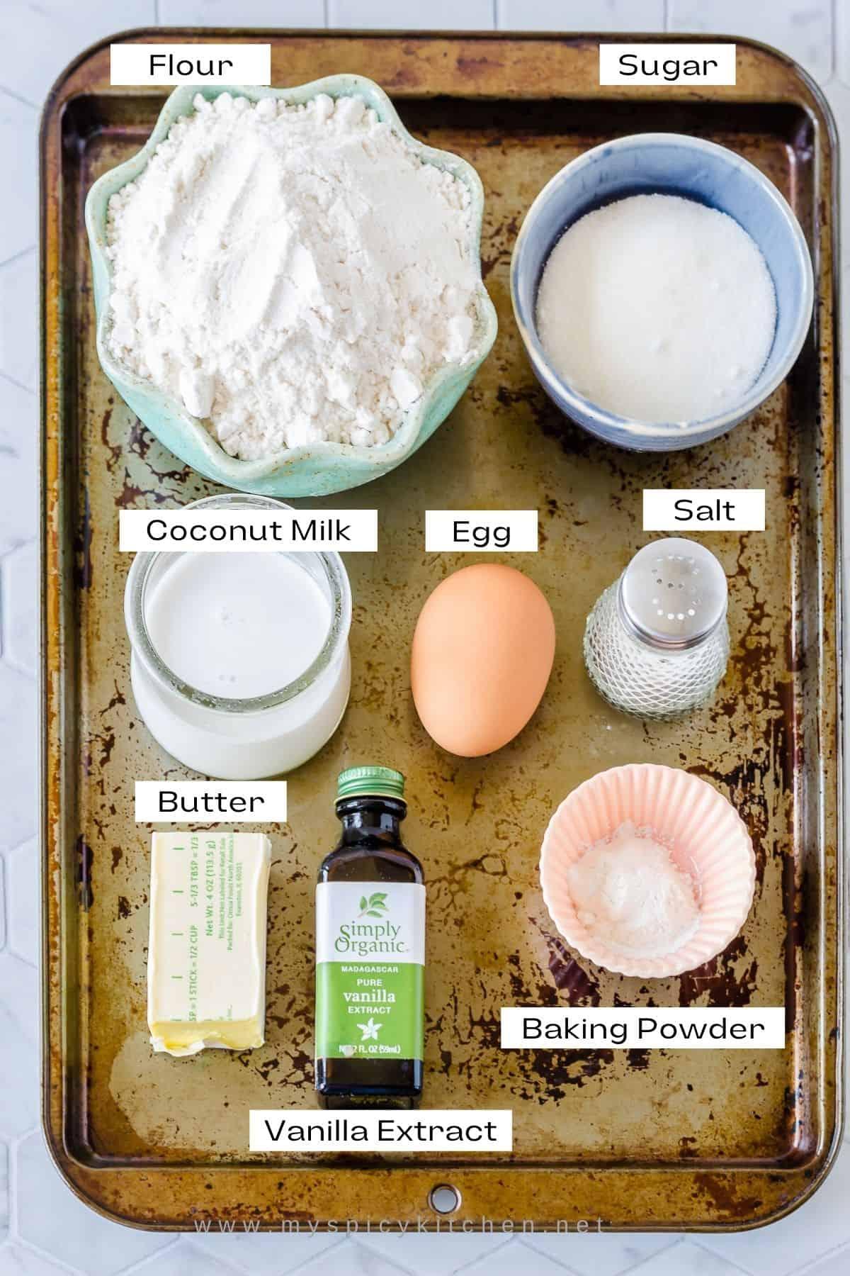 Ingredients for coconut masi samoa - coconut shortbread cookies.