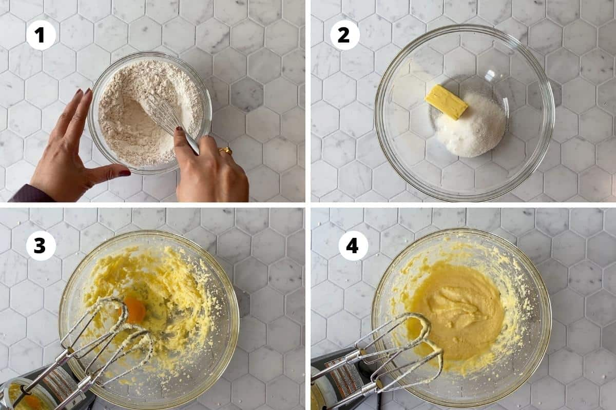 Preparation of dough - mix dry ingredients, cream sugar and butter, add egg and beat.