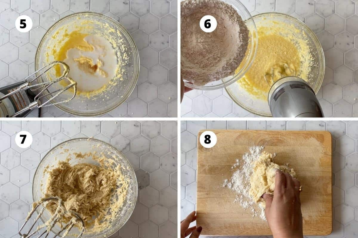 Preparation of dough - beat in vanilla and coconut milk, add flour to form a dough and then gently knead the dough.