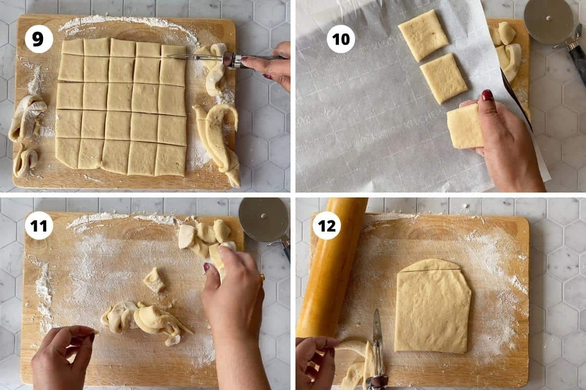 Preparing cookies - roll the dough and cu to squares, transfer to a cookie sheet, collect the scrapes, roll again and cut into squares.