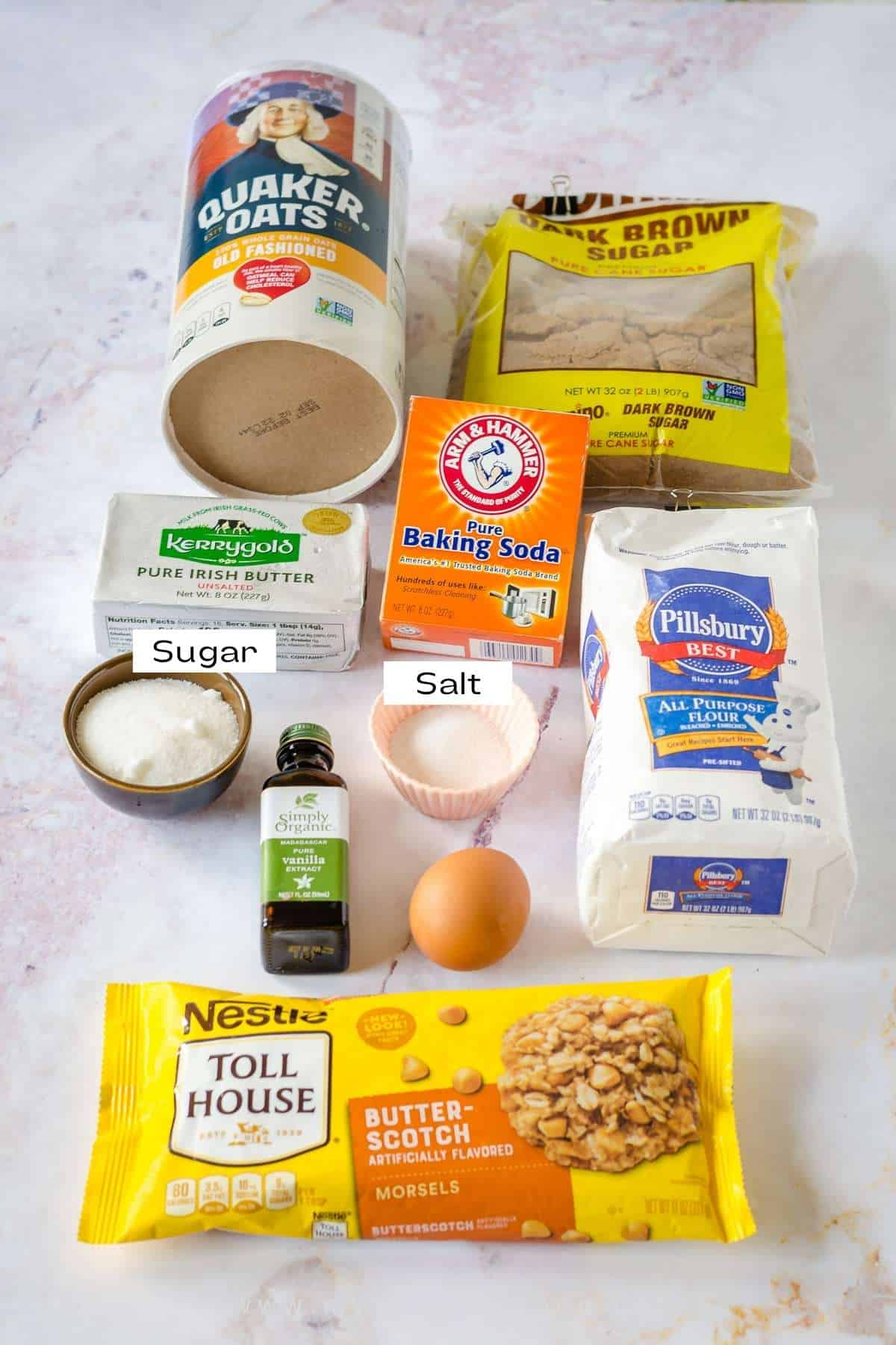 Ingredients for oats butterscotch cookies.