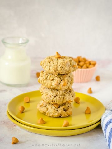 Stack of oats butterscotch cookies.