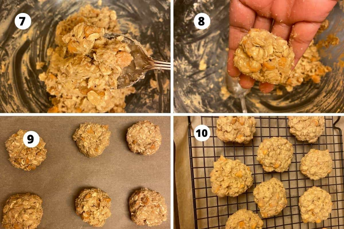 Collage of shaping and finished cookies.